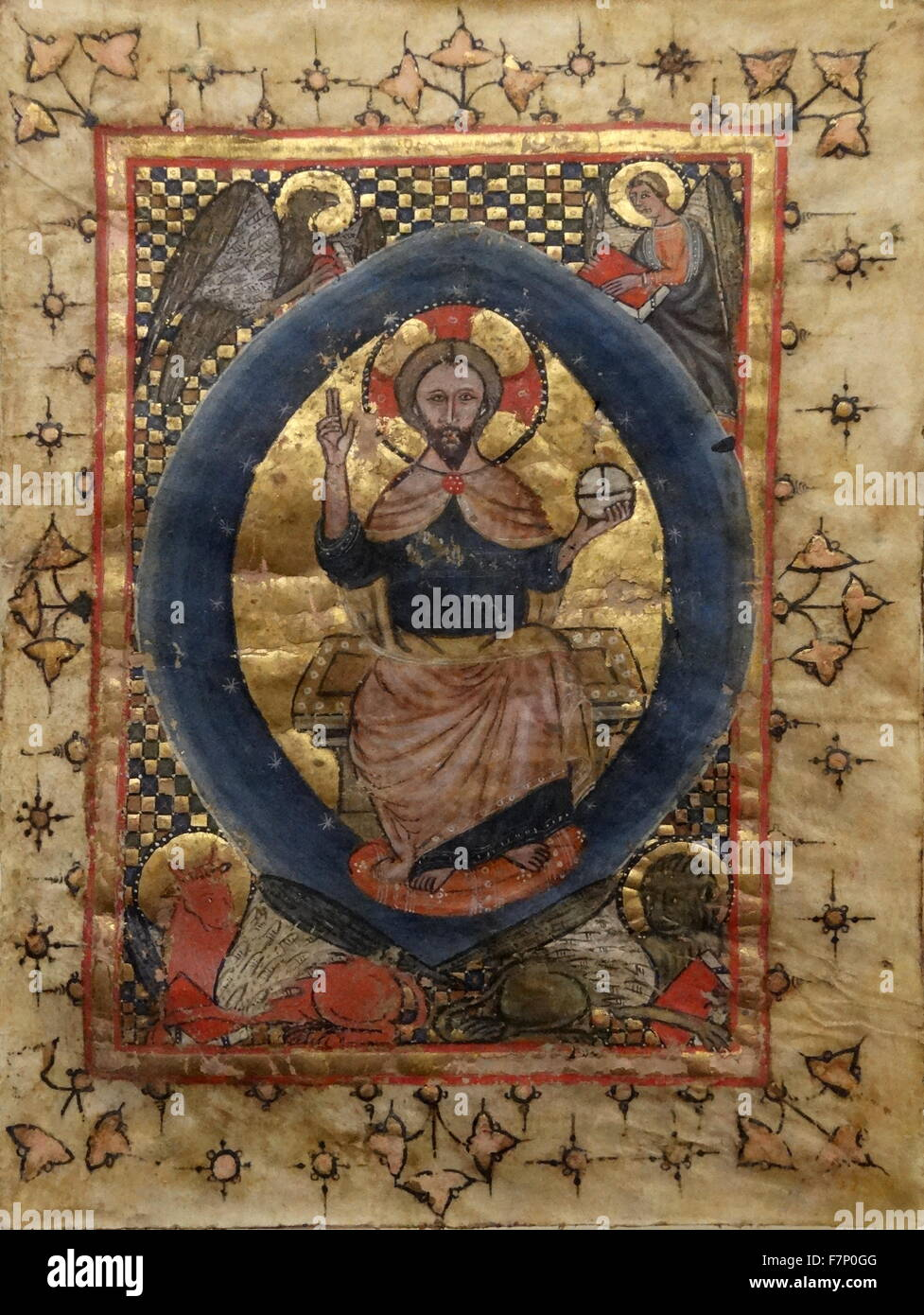Christ his majesty with symbols by Anonymous. Dated 14th Century - Stock Image