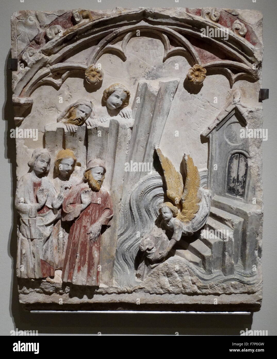 Tableau relief of St. Michael by Mestre San Mateo. Dated 14th Century - Stock Image