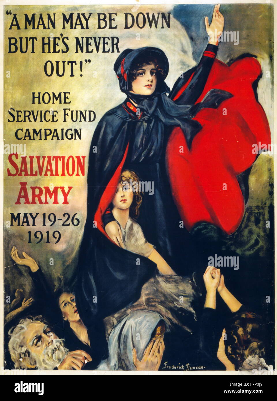 Post World war One 'Home Service Fund' Campaign poster by the Salvation Army 1919 - Stock Image
