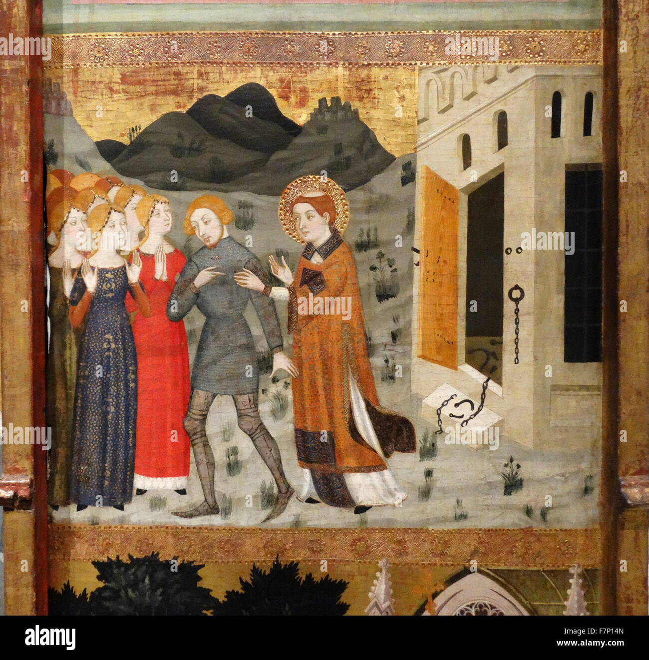 Altarpiece of Saint Stephen by Jaime Serra (1358-1395) Catalonian painter. Dated 14th Century - Stock Image