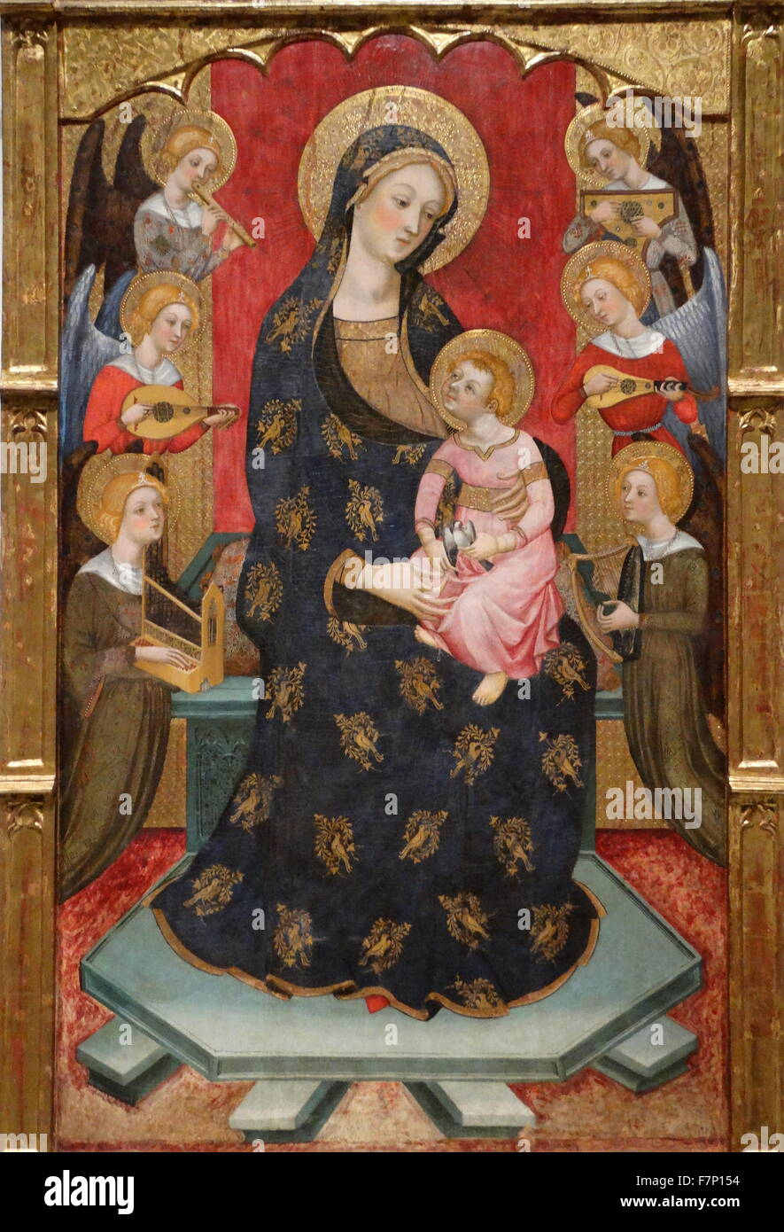 Lady of Angels by Pere Serra (active 1357-1406) Gothic-Italian style painter. Dated 14th Century - Stock Image