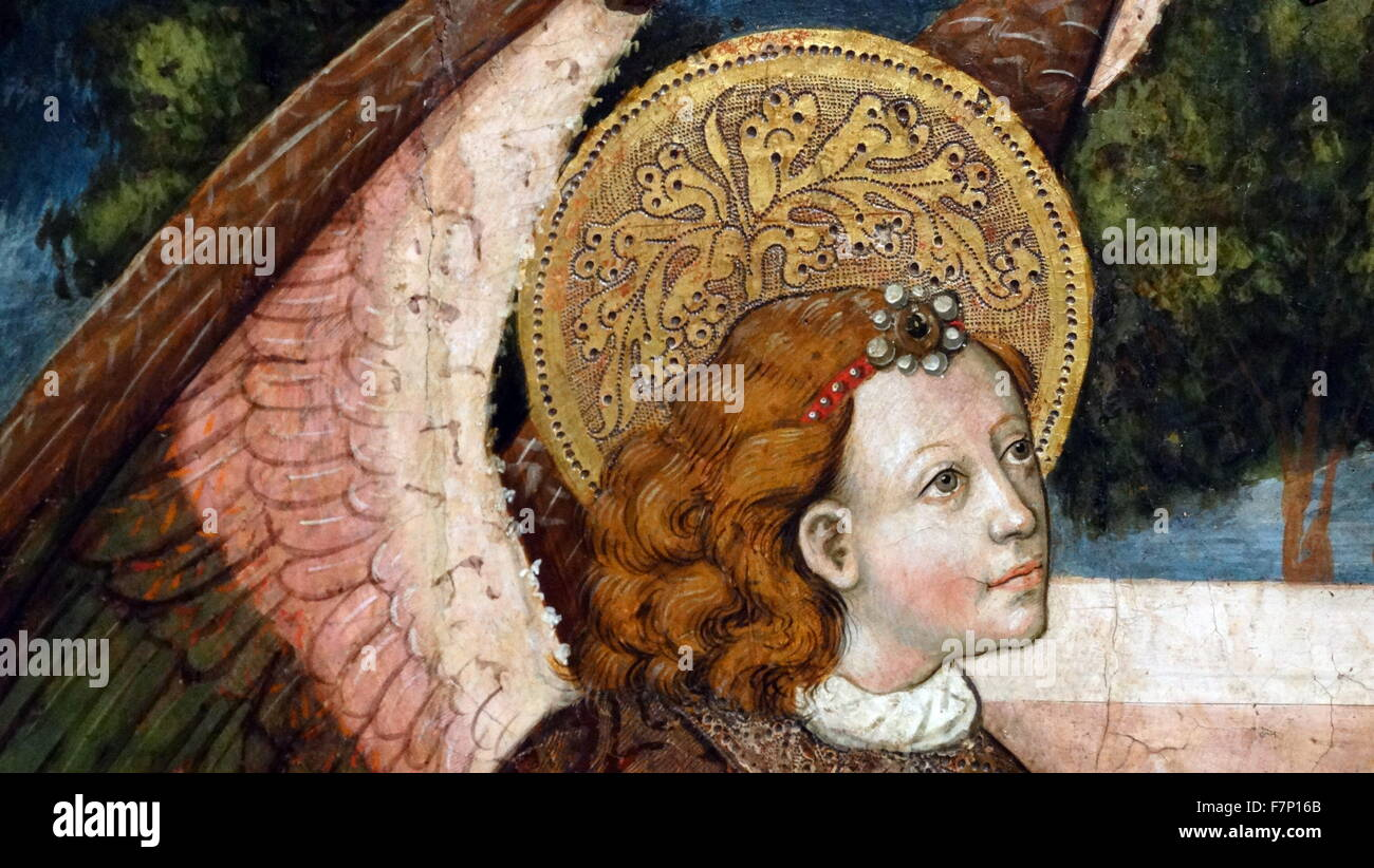 The Annunciation of Archangel Gabriel. Tempera and gold leaf on wood. By Anonymous. Dated 14th Century - Stock Image