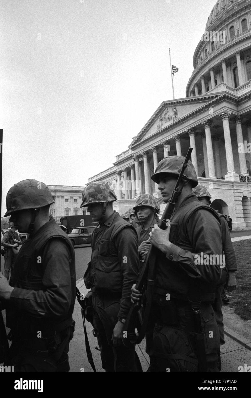 National Guard troops, near U.S. Capitol, Washington DC, during 1968 race riots - Stock Image
