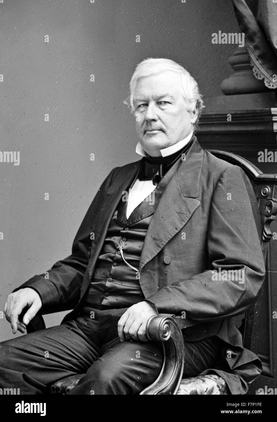 President Millard Fillmore 1860. Millard Fillmore (January 7, 1800 – March 8, 1874) was the 13th President of the Stock Photo
