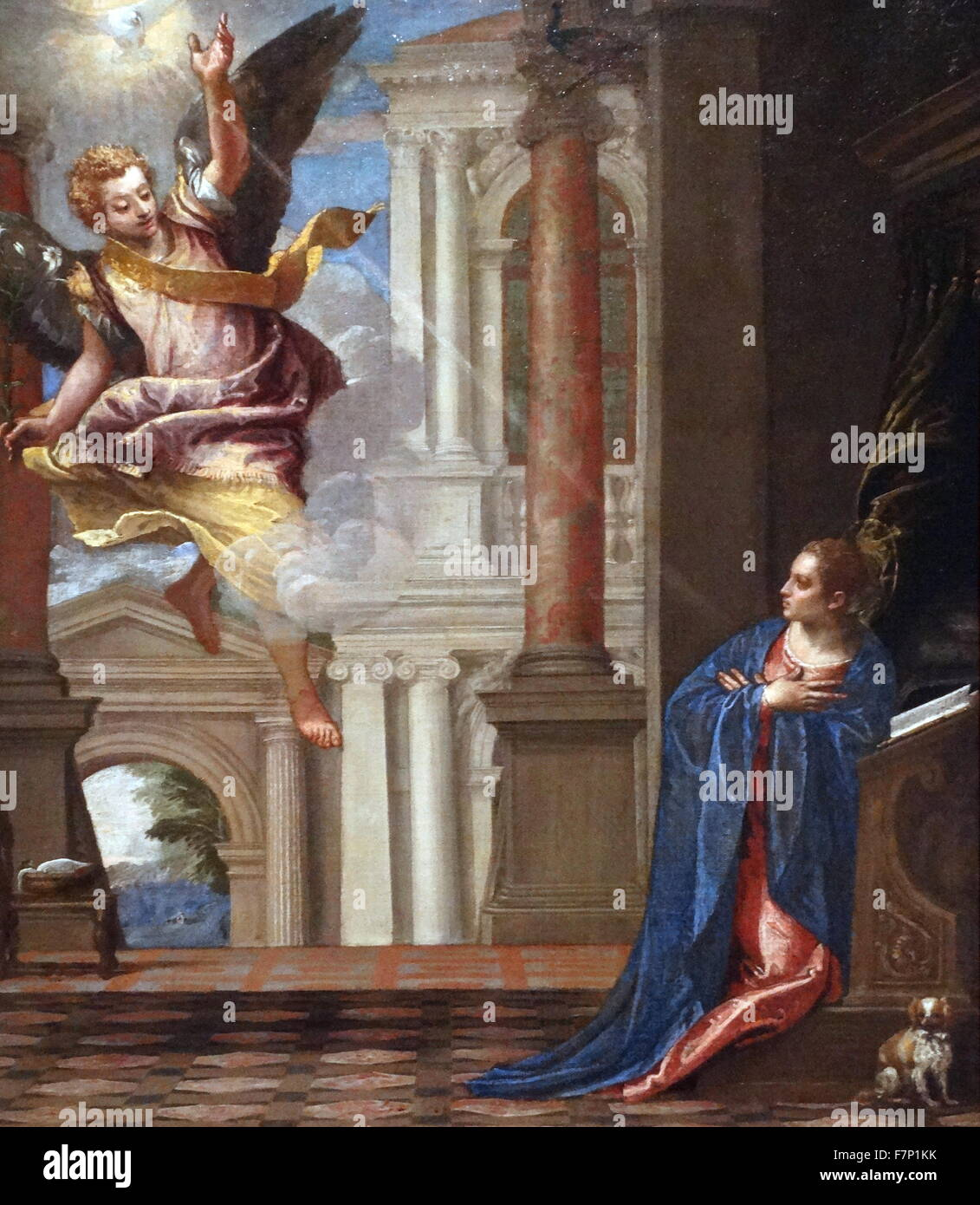 Painting titled 'Annunciation' by Paolo Veronese (1528-1588) Italian  Renaissance painter, best known for large history paintings of both  religious and ...