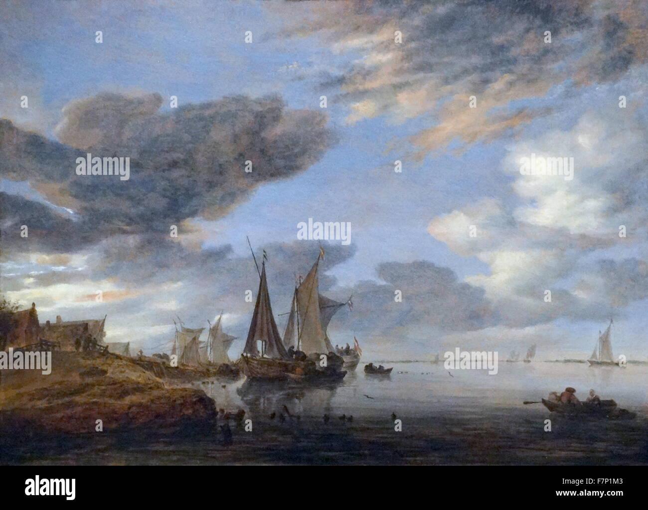 Painting titled 'Sailing along a village' by Salomon van Ruysdael (1602-1670) Dutch Golden Age landscape painter. Stock Photo