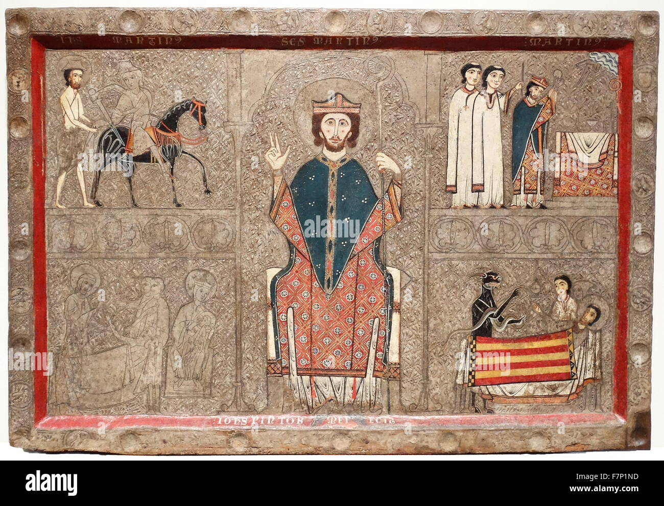 The Altar frontal Gia, from the church of San Martin de Gia or Xia. Created by the Workshop of Ribagorza. Dated - Stock Image
