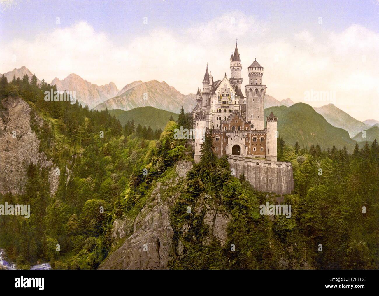 Neuschwanstein King Ludwig II castle, Upper Bavaria, Germany 1890 - Stock Image