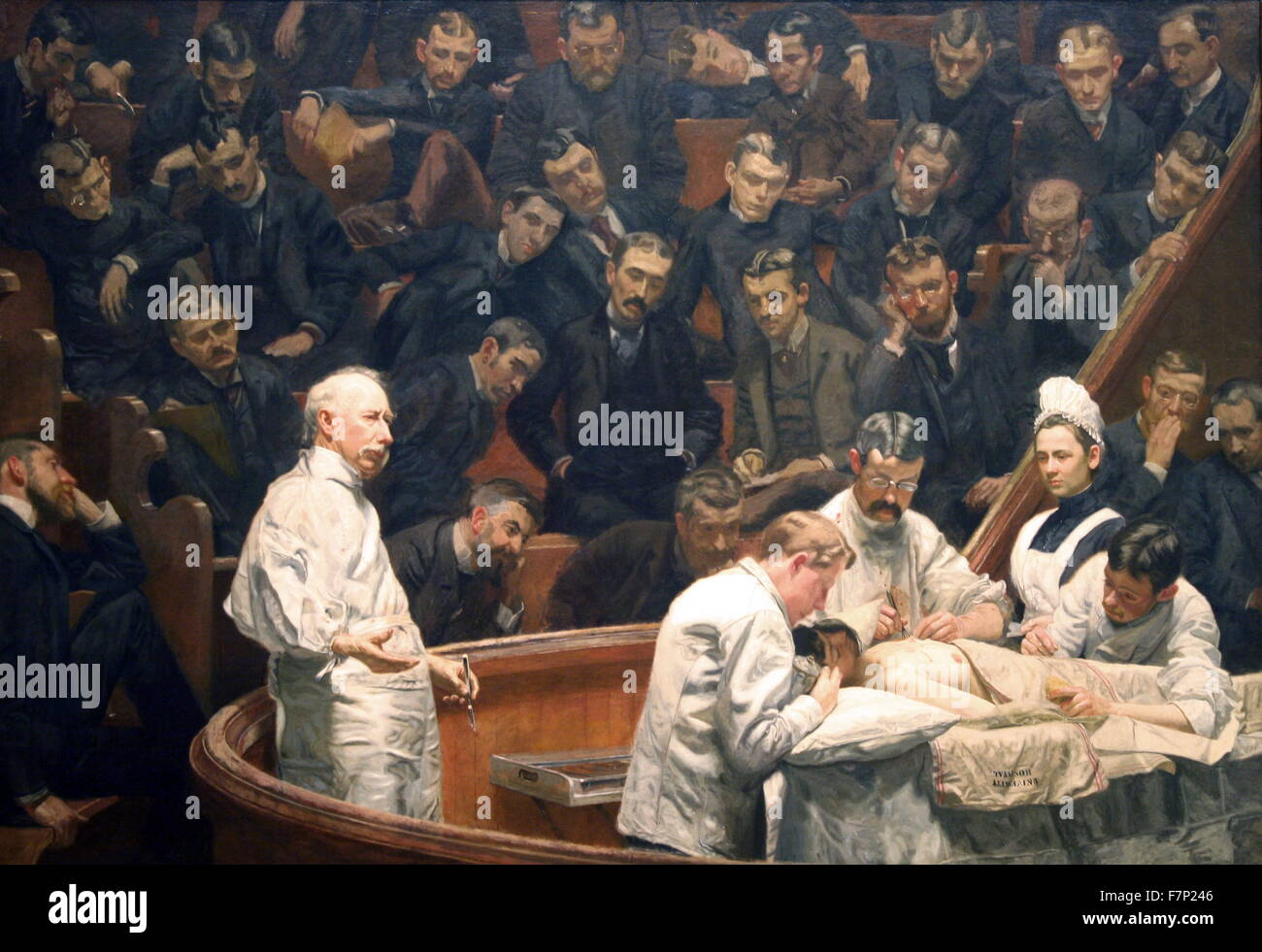 The Agnew Clinic, or, The Clinic of Dr. Agnew, is an 1889 oil painting by American artist Thomas Eakins, 1844-1916. - Stock Image