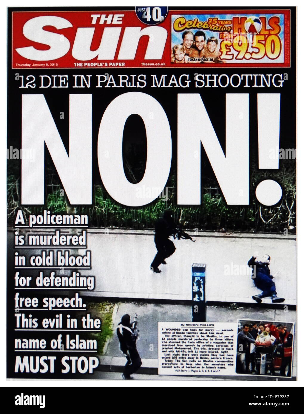 The Sun' front page headline, during Charlie Hebdo Incident 2015. Charlie Hebdo is a French satirical weekly - Stock Image