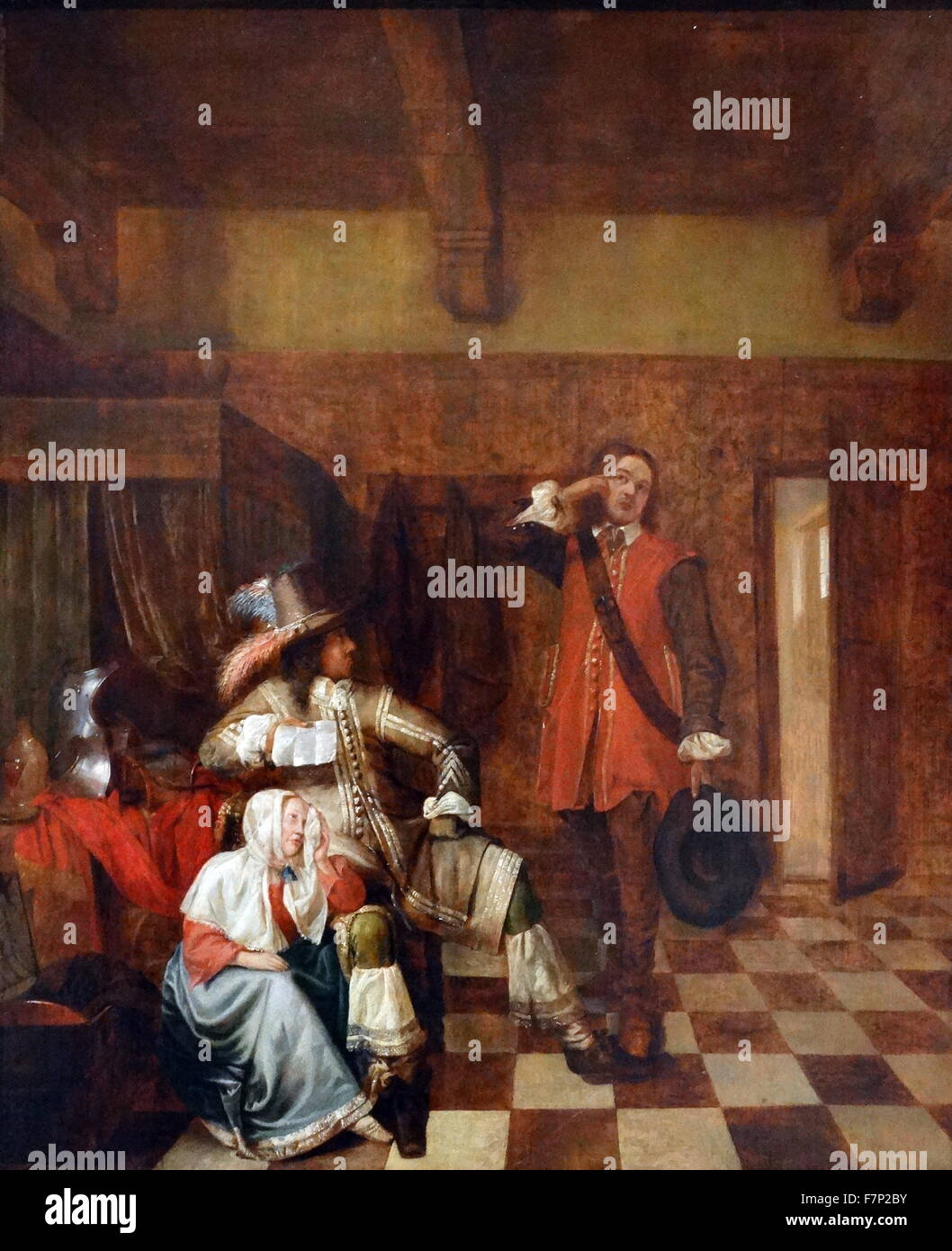 Painting titled 'The Bearer of Bad News' by Pieter de Hooch Stock