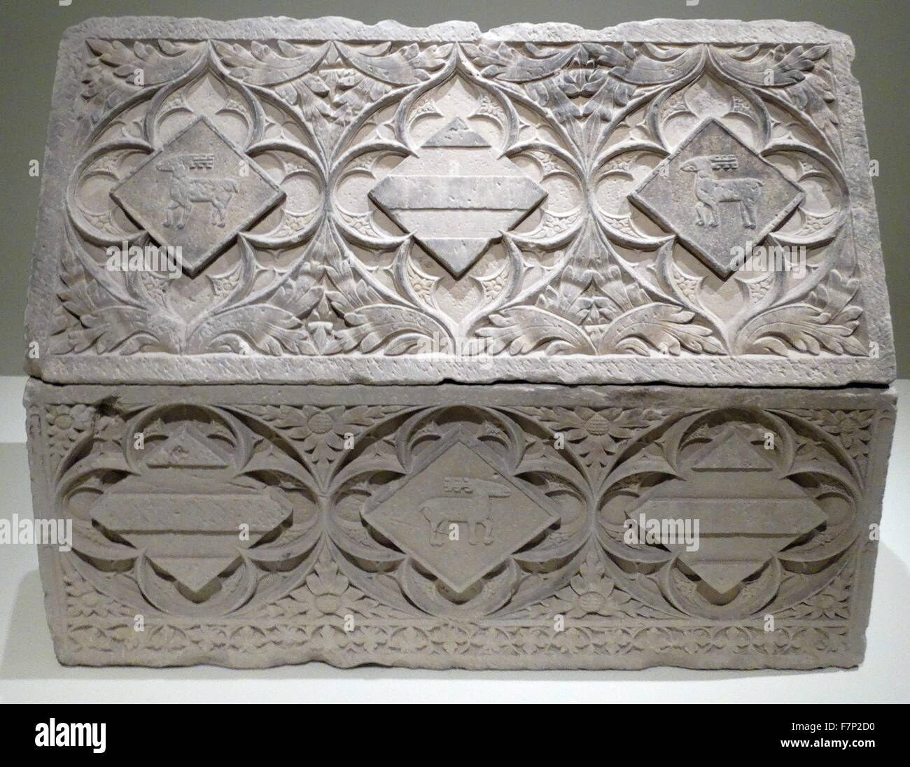 Sarcophagus-Lieder Boixadors, from the Cistercian monastery of Santa Maria de Poblet. by Anon. Dated 14th Century - Stock Image
