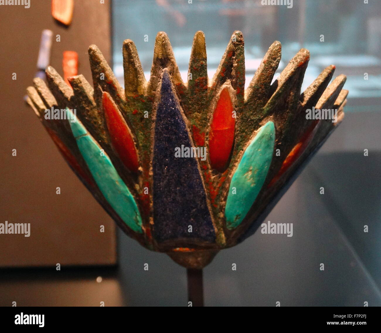 Egyptian lotus flower stock photos egyptian lotus flower stock ancient egyptian representation of a lotus flower bronze inlaid with turquoise lapis and mightylinksfo