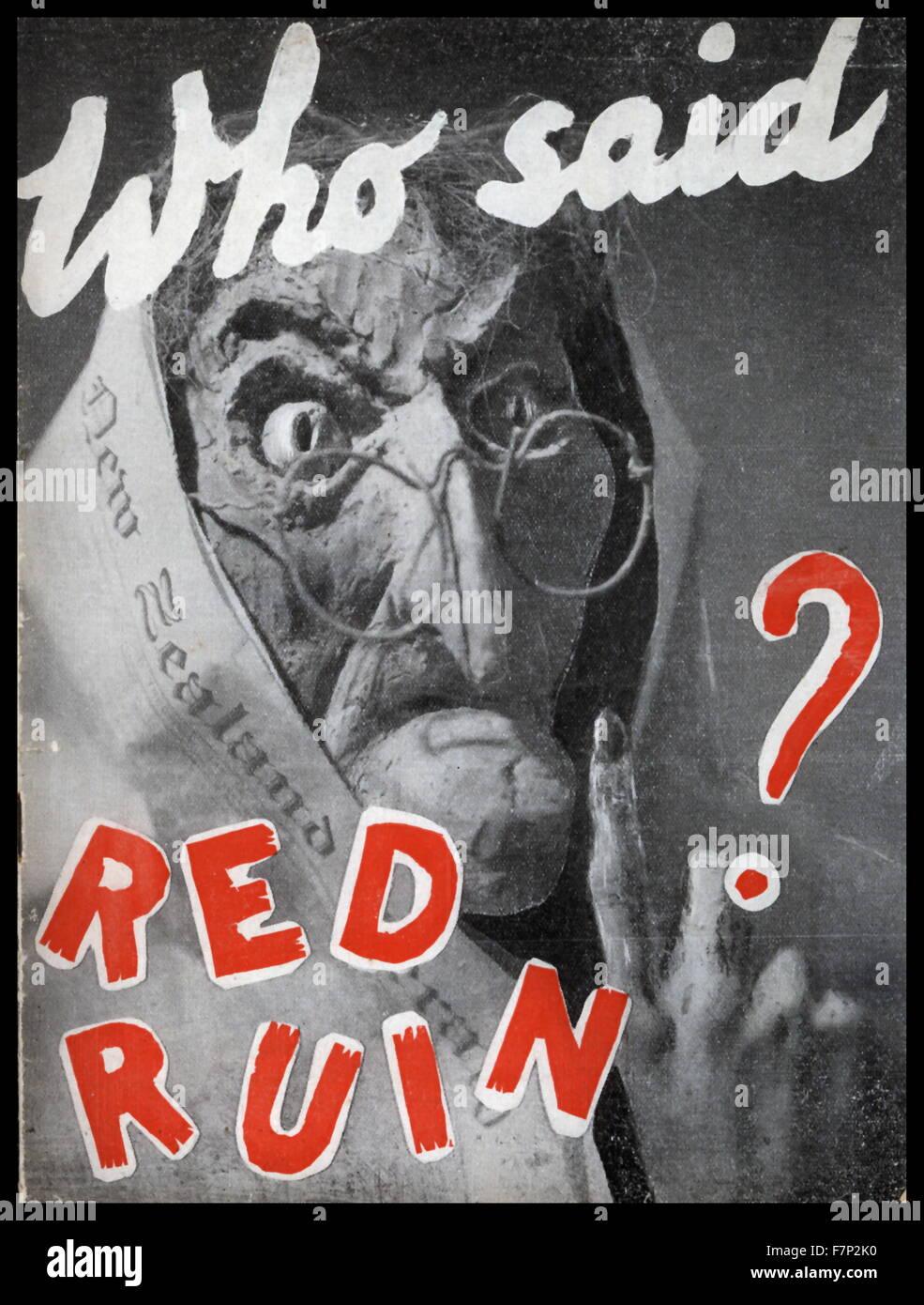 New Zealand 1950 anti-communist propaganda poster Stock ...