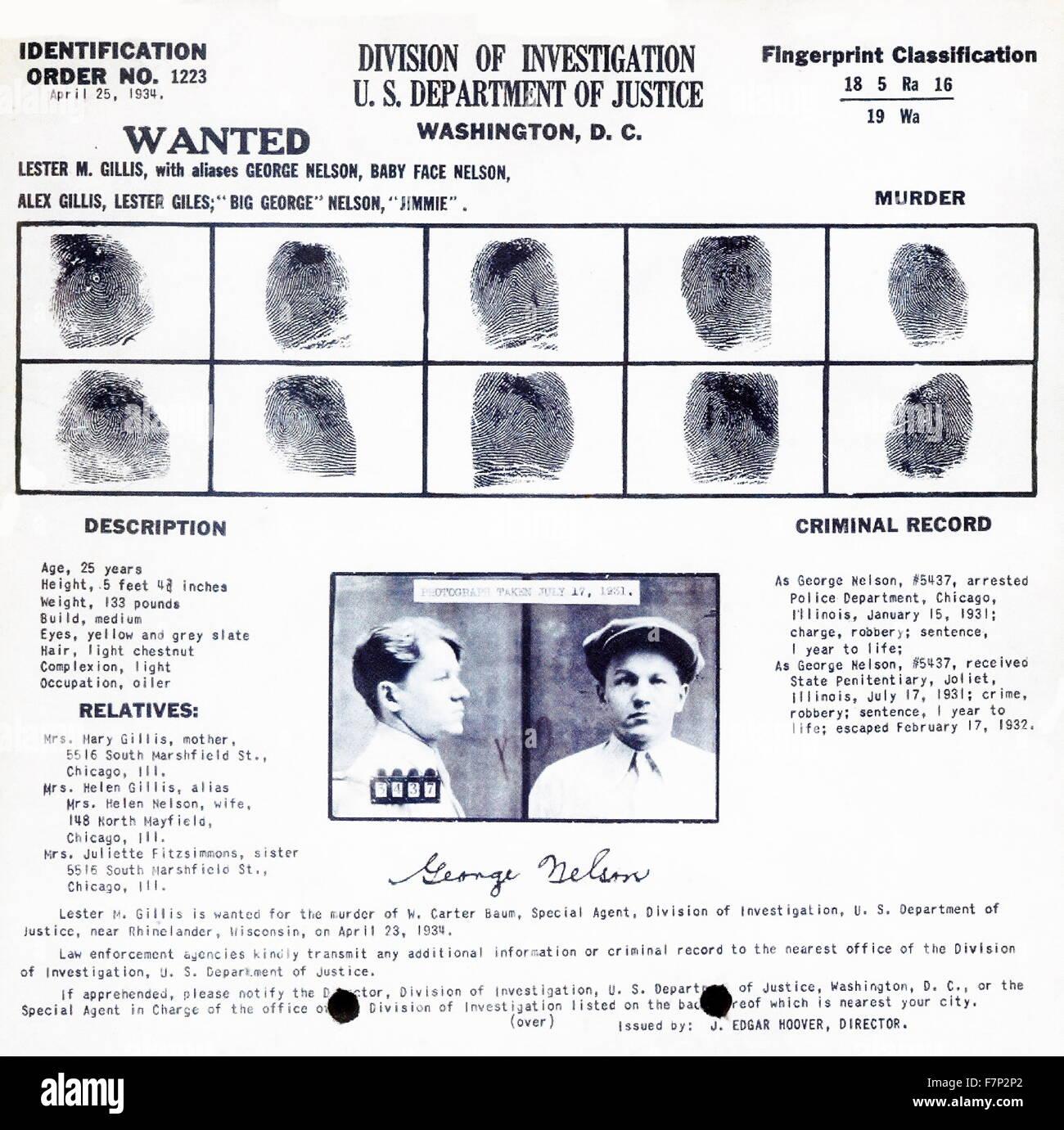 """Fingerprint record for """"Baby Face"""" Nelson. Lester Joseph Gillis (1908 – November 27, 1934), known under the pseudonym - Stock Image"""