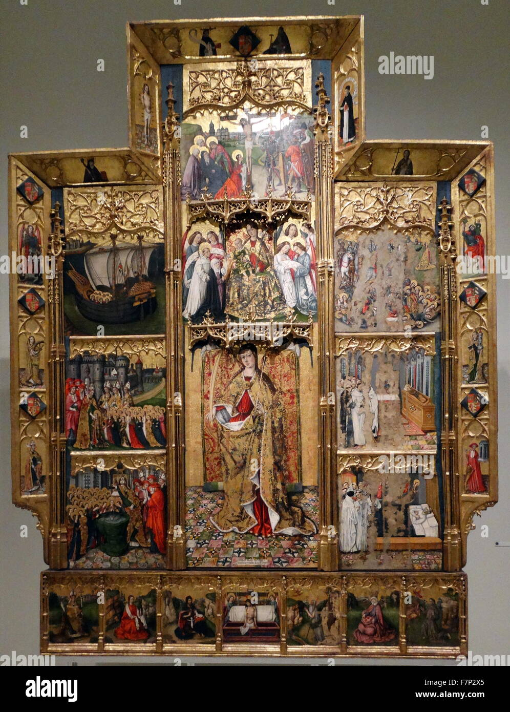 Altarpiece of Saint Ursula and the eleven thousand virgins by Joan Reixach (1411-1486) Spanish painter and miniaturist. - Stock Image