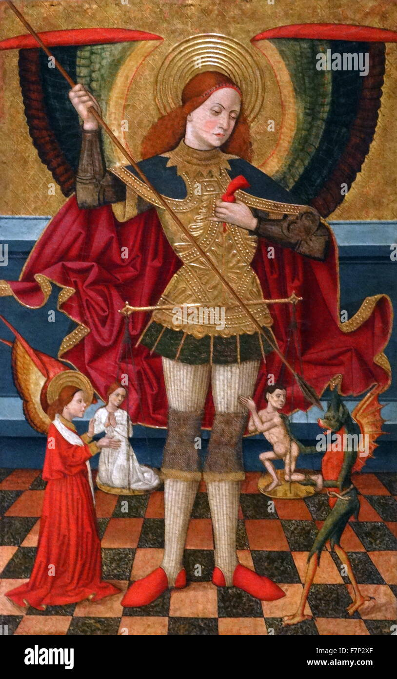 SAINT MICHAEL WEIGHING SOULS PAINTING CATHOLIC HISTORY ART REAL CANVAS PRINT