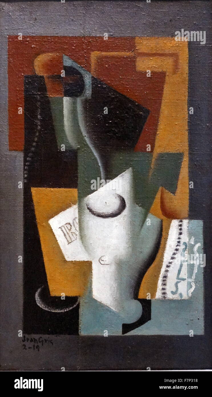 Painting titled 'Glass and Bottle' by Juan Gris (1887-1927) Spanish painter and sculptor. Dated 1918 - Stock Image