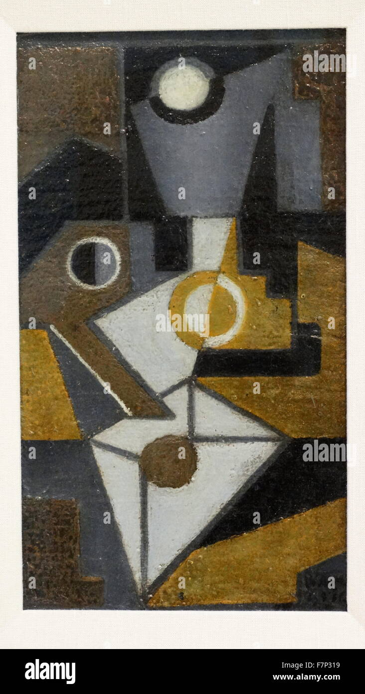Painting titled 'The Envelope' by Juan Gris (1887-1927) Spanish painter and sculptor. Dated 1918 - Stock Image