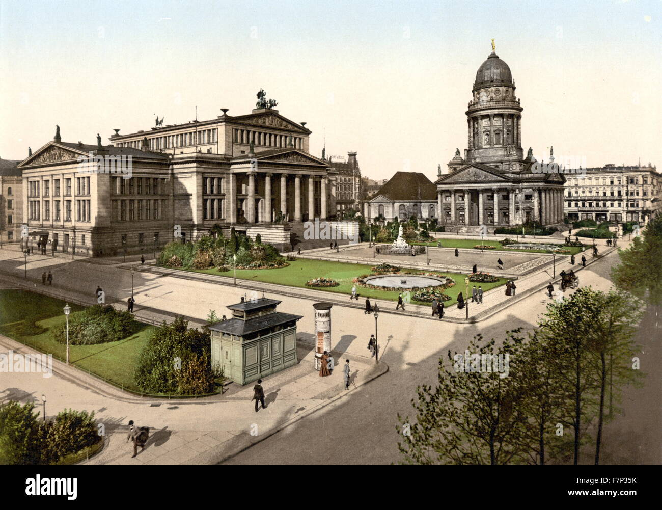 Photomechanical print of Schiller Square, Berlin, Germany. Dated 1896 - Stock Image