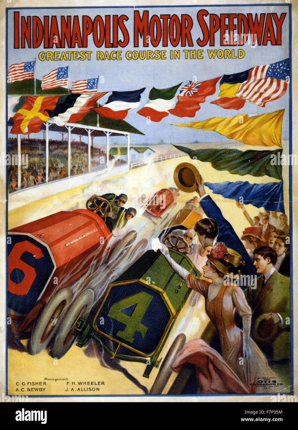 Poster for the Indianapolis Motor Speedway 1909 - Stock Image