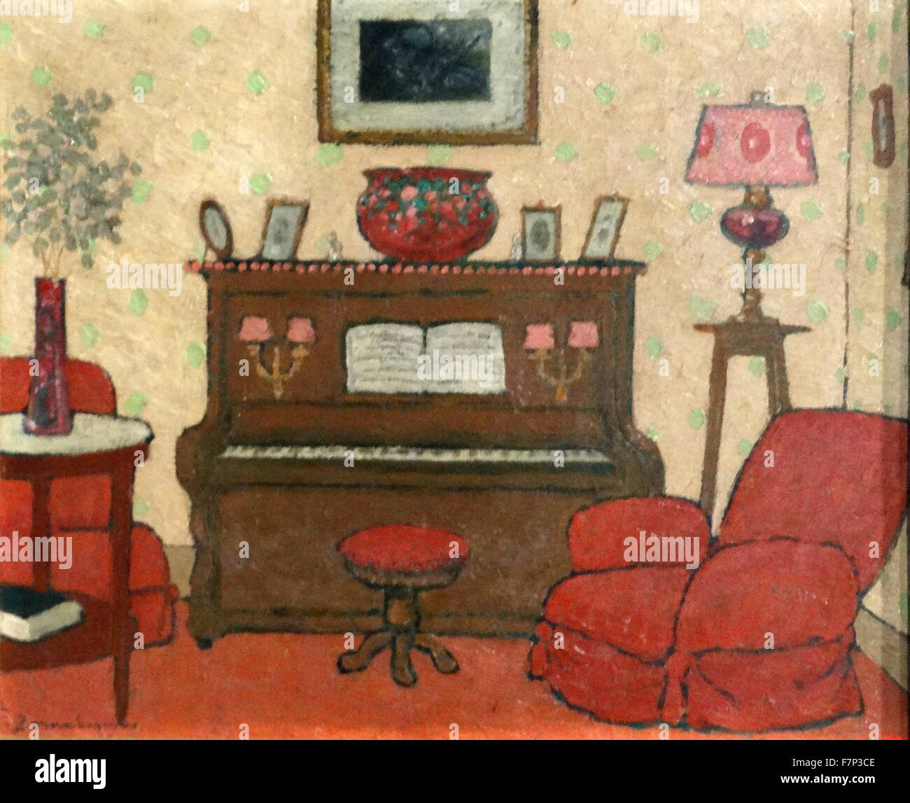Painting titled 'Interior' by Pere Tornè Esquius (1879-1936) French cartoonist and painter. Dated 1920 - Stock Image
