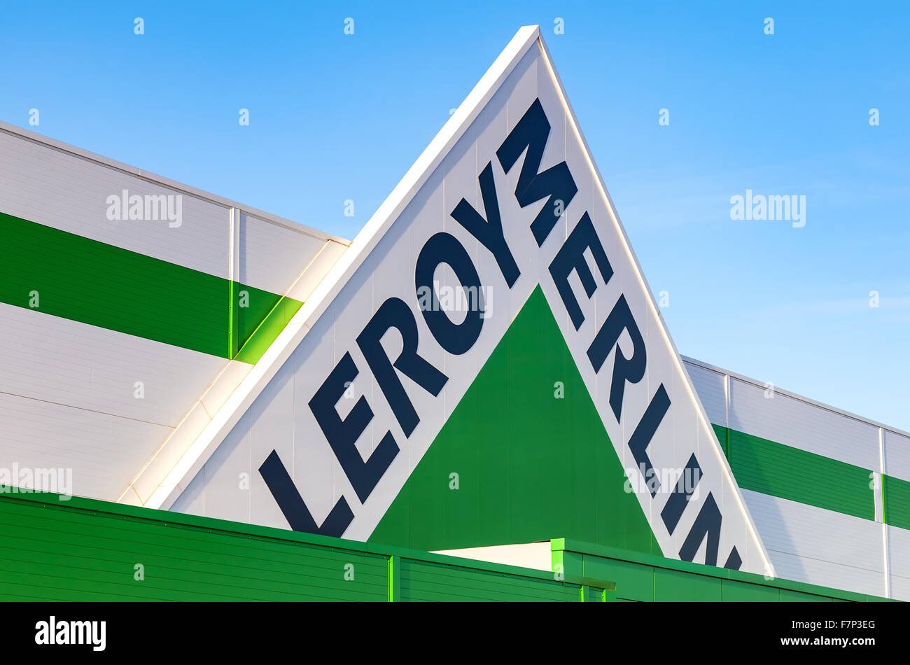 Leroy merlin brand sign against blue sky stock photo: 90840136 alamy