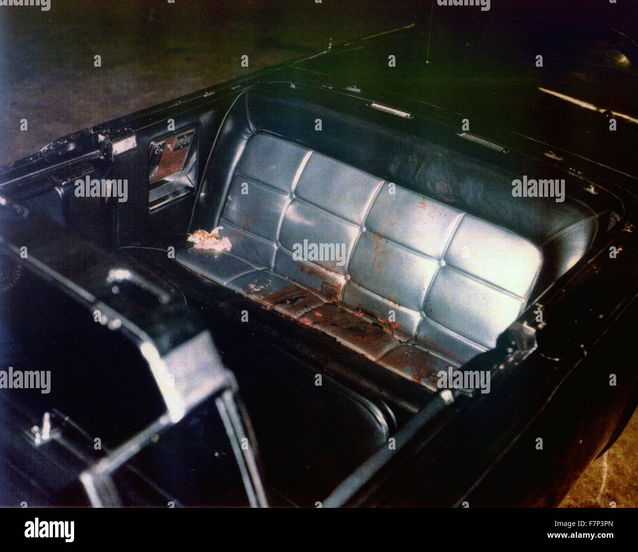 Photograph of the Kennedy limousine after assasination, Dallas. Dated 1963 - Stock Image