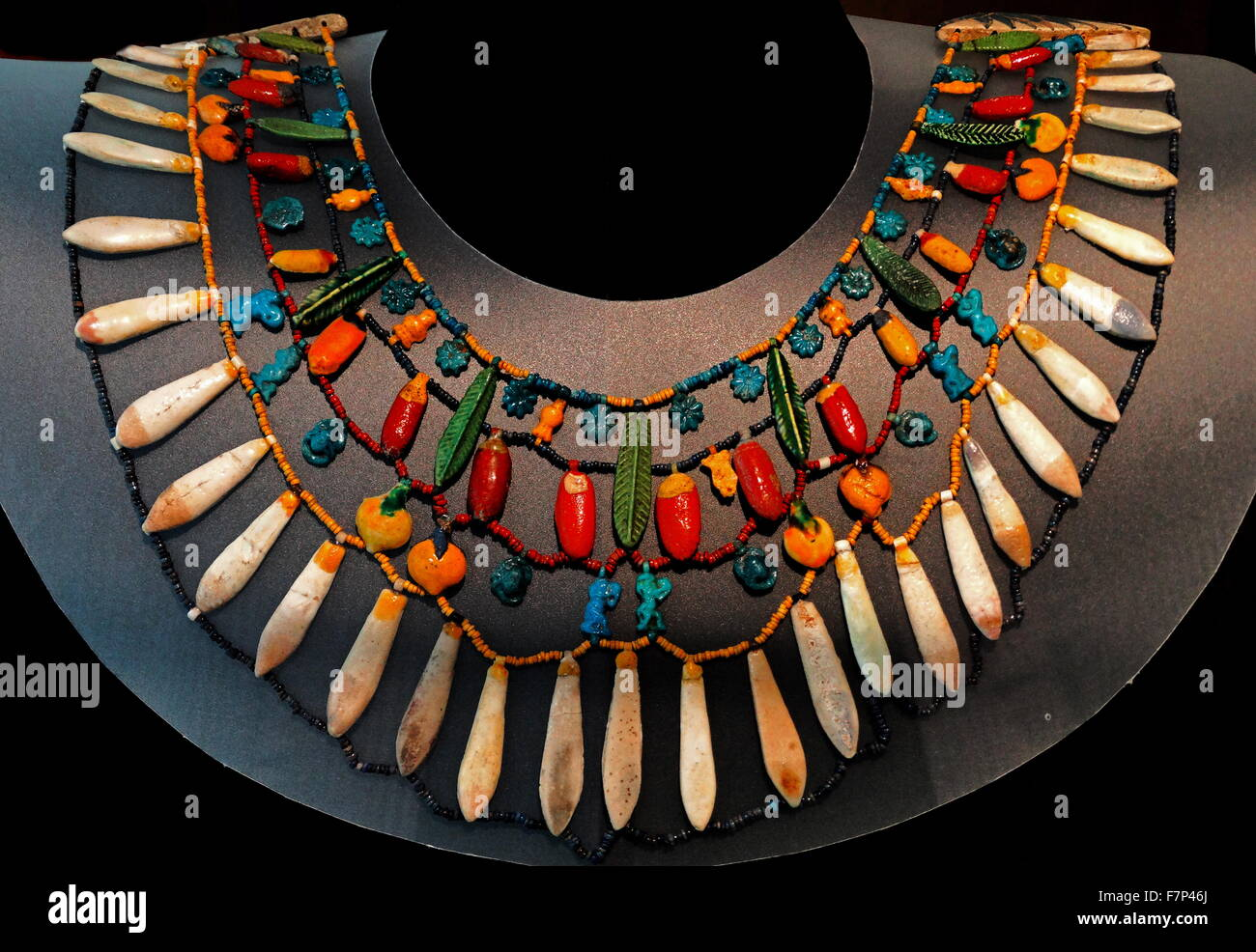 18th Dynasty Egyptian beaded collar from a royal or noble personage - Stock Image