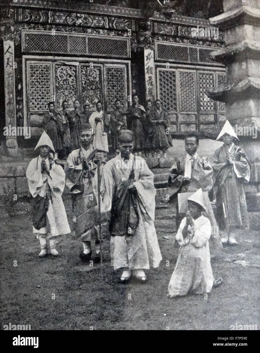 Photograph of the Abbot of Yu-chom-sa Temple by Angus Hamilton (1874-1913). Dated 1904 - Stock Image