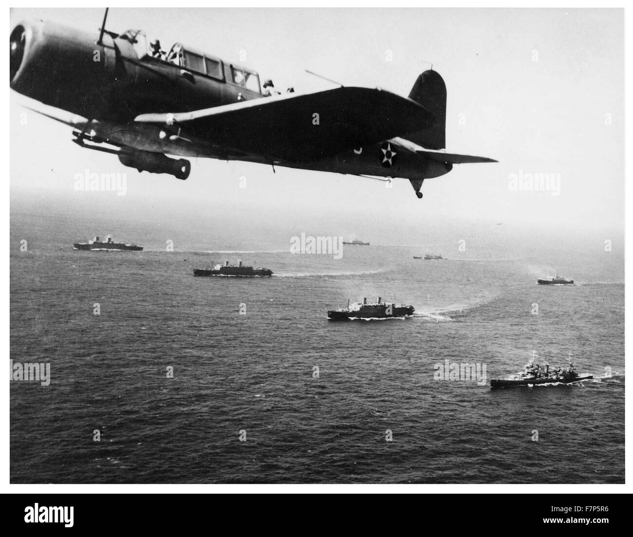Photograph of a Convoy WS-12 en route to Cape Town, South Africa. Dated 1941 - Stock Image