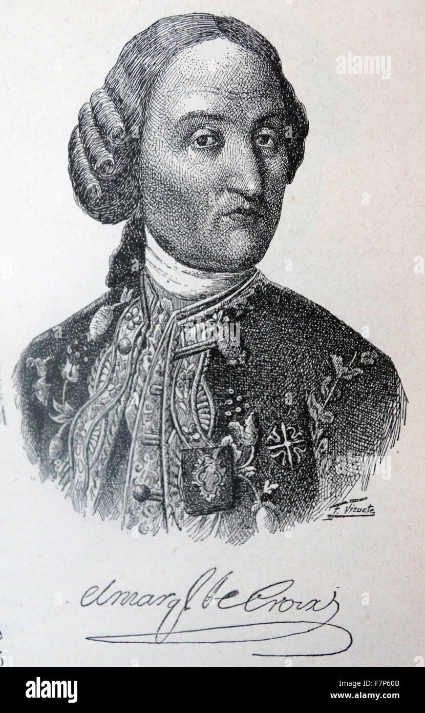 Portrait of Carlos Francisco de Croix, marked Cross (1699-1786) Carlos Francisco de Croix, Marqués de Croix, - Stock Image