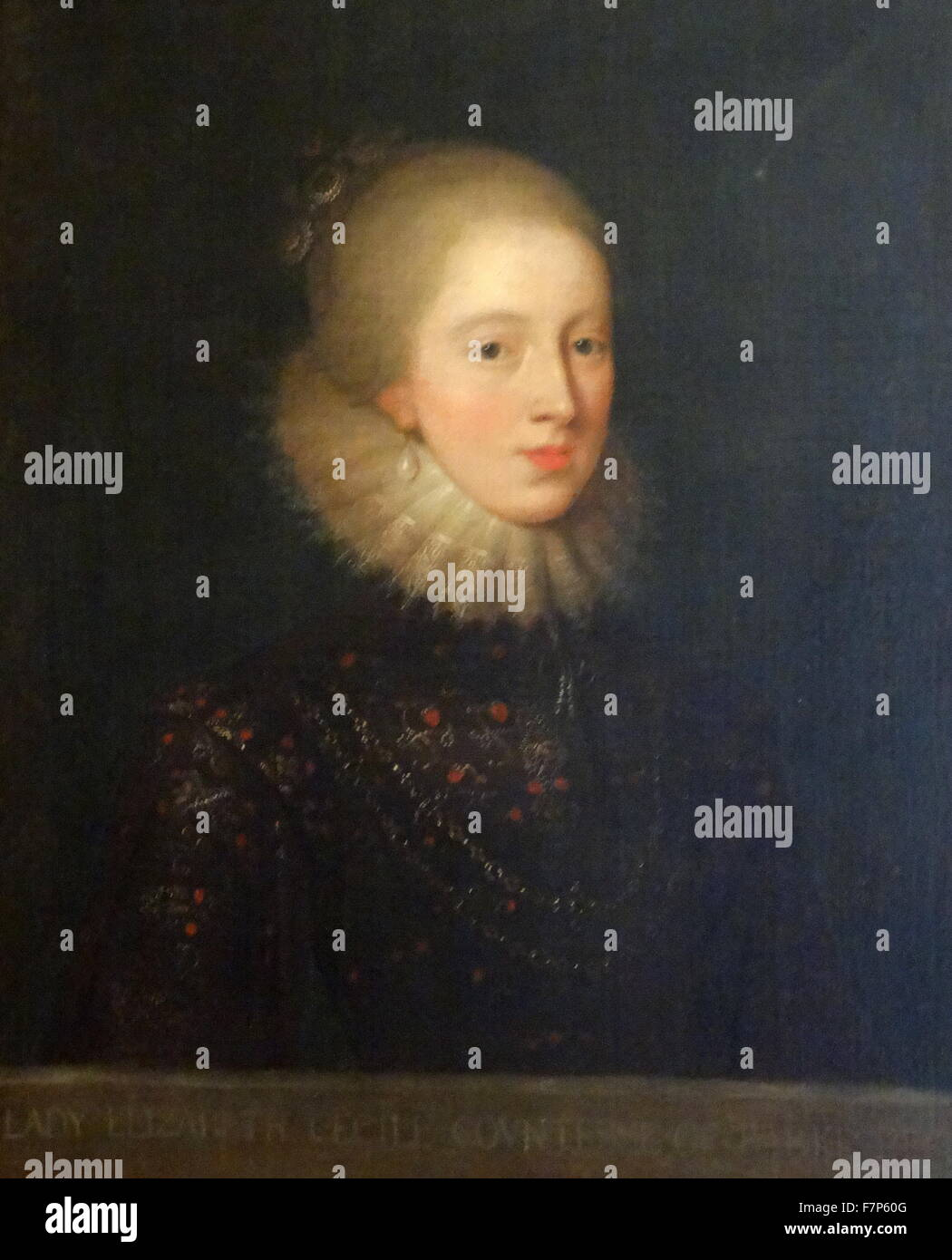 Portrait of Elizabeth Cecil, Countess of Berkshire (1596-1672) by the British (English) School. Dated 17th Century - Stock Image