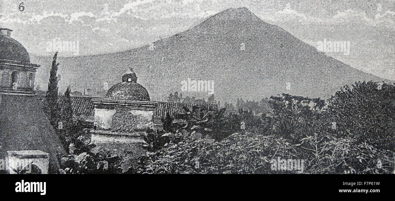 Illustration of the Volcán de Agua a stratovolcano located in the department of Sacatepéquez, Antigua, - Stock Image