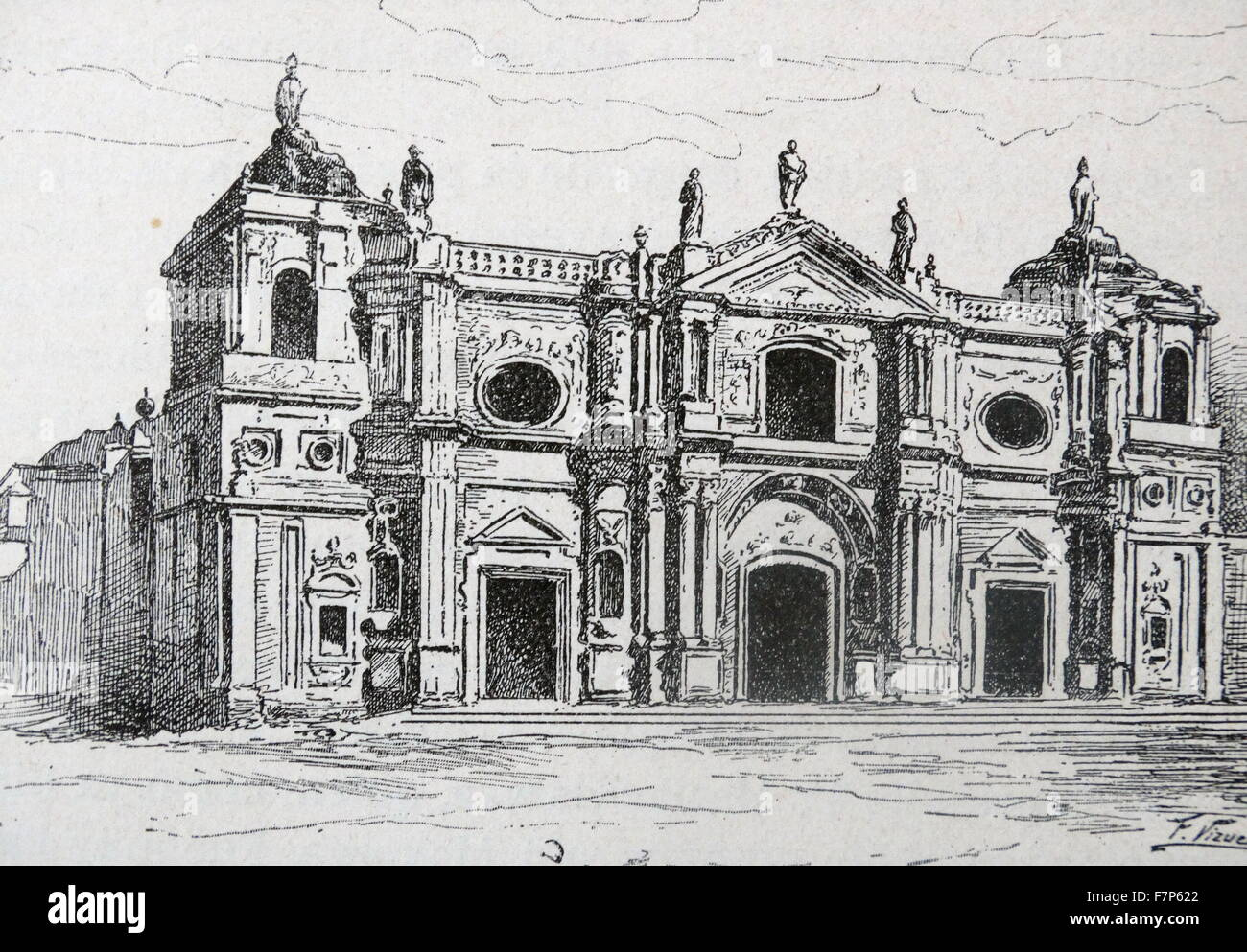 Illustration of the Santo Domingo Monastery. a ruined monastery in Antigua Guatemala, Guatemala. Dated 17th Century - Stock Image
