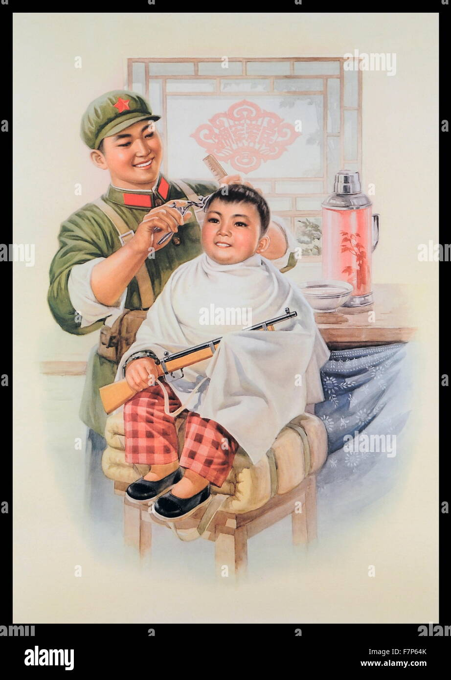 Chinese propaganda poster depciting a young pro-boy getting his hair cut by a soldier. Created by Hang Kwang-chou, - Stock Image