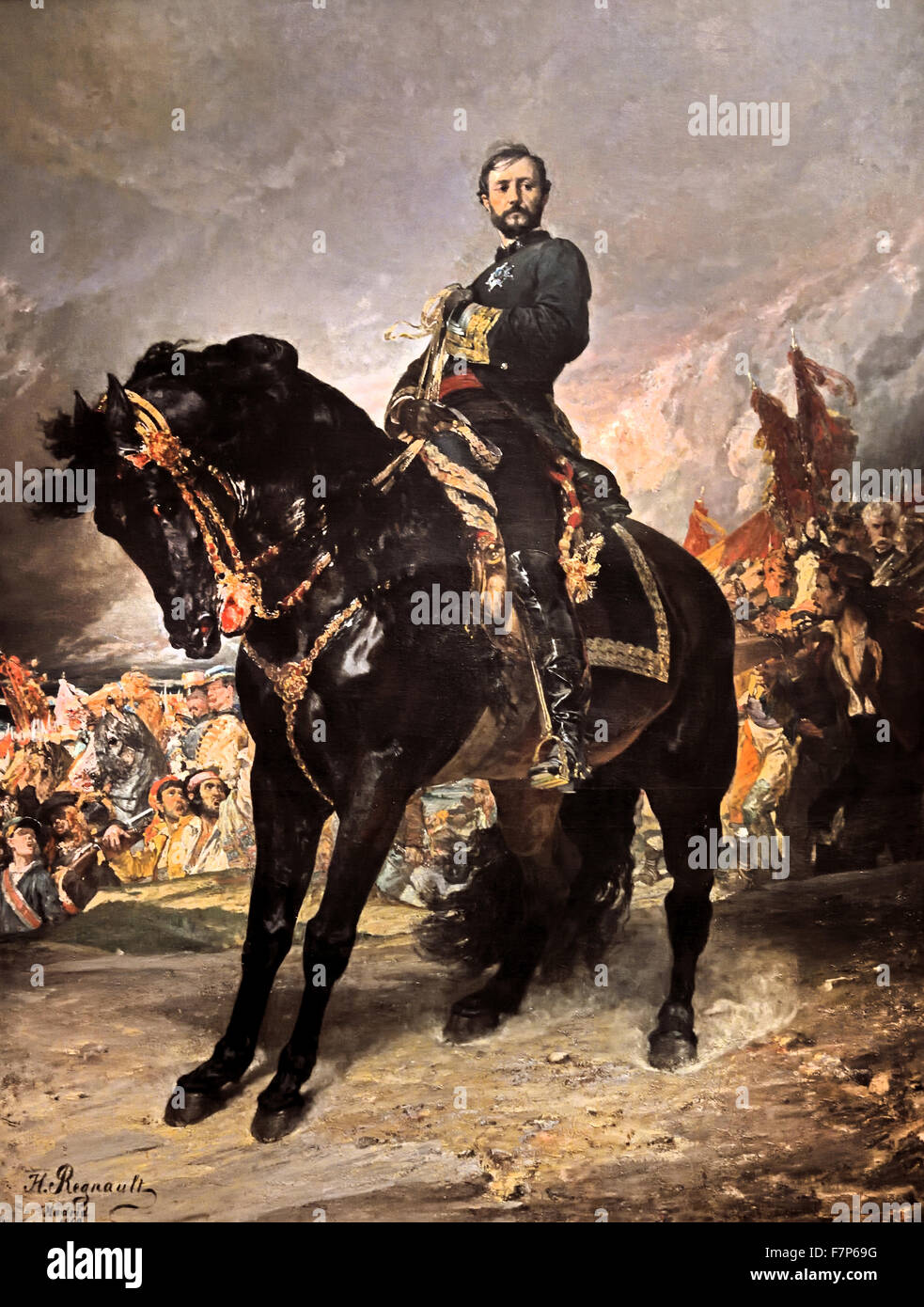 Juan Prim October 8, 1868 Henri Regnault 1843 -1871 ( Arrival of General Juan Prim (1814 - 1870) to Madrid riding Stock Photo