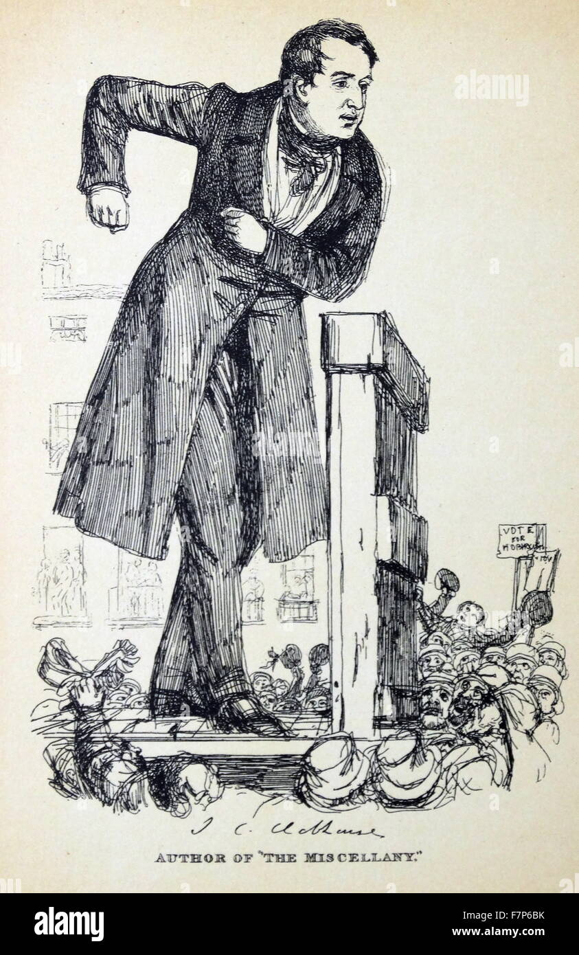 John Cam HOBHOUSE, Baron Broughton de Gyfford - 1786-1869 English statesman. Friend of Byron. From a print originally - Stock Image