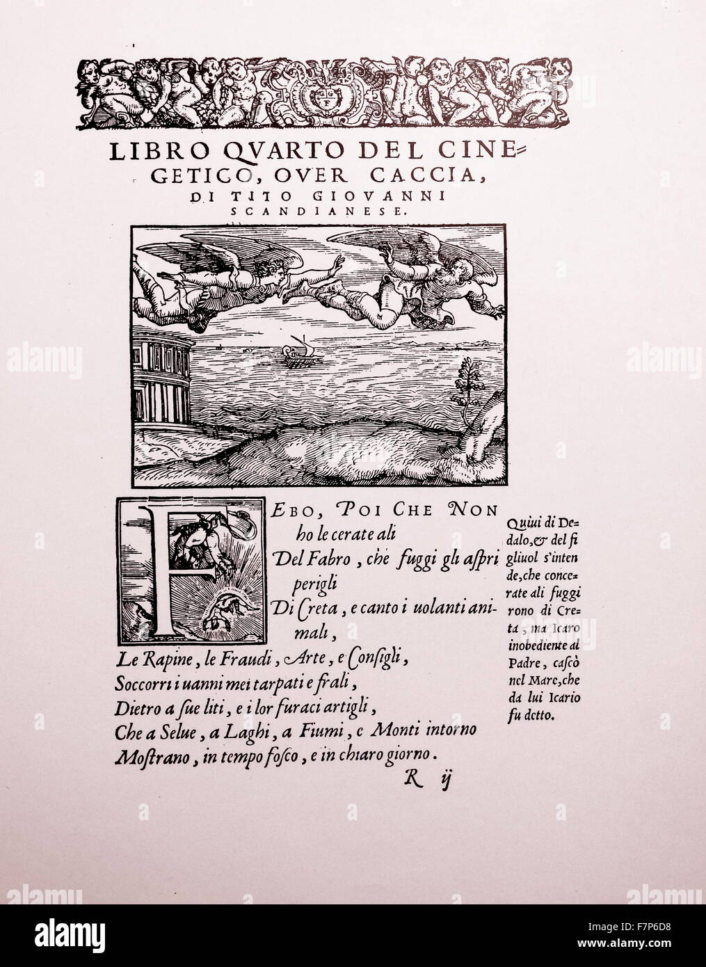 Daedalus and Icaros. From Lodovico Dolee Le Transformation Venice 1553. - Stock Image