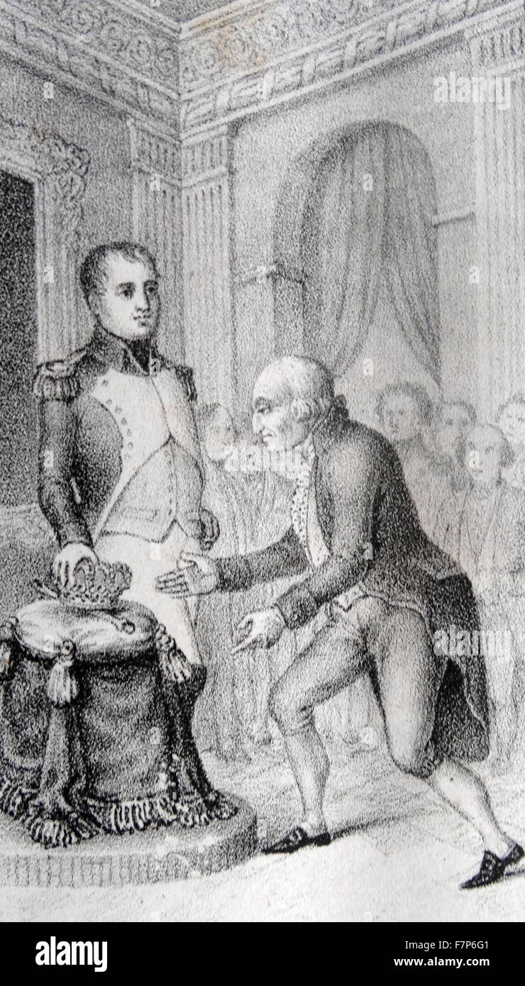 Charles IV of Spain abdication in favour of Joseph Bonaparte - Stock Image