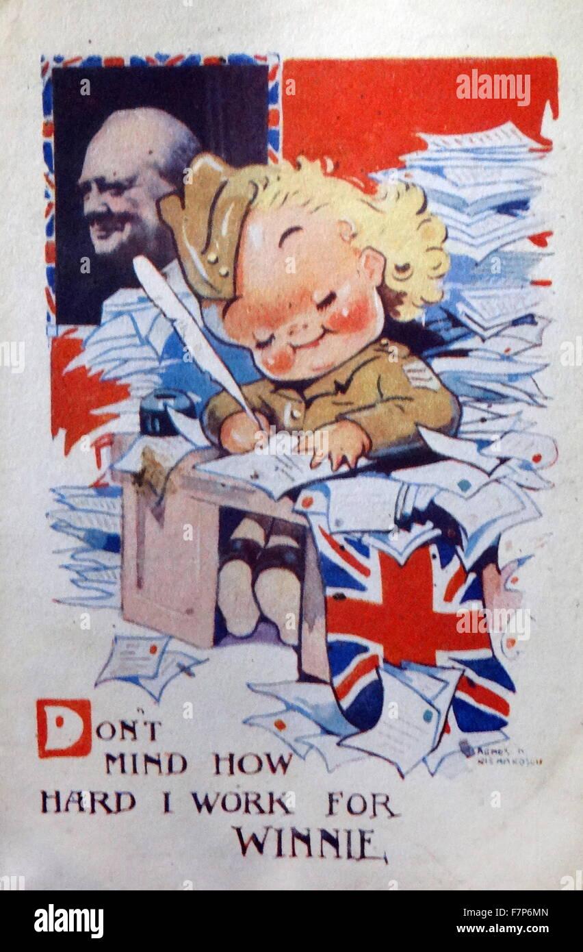 World war two, British Propaganda poster 'Don't mind how hard I work for winnie (Churchill) - Stock Image