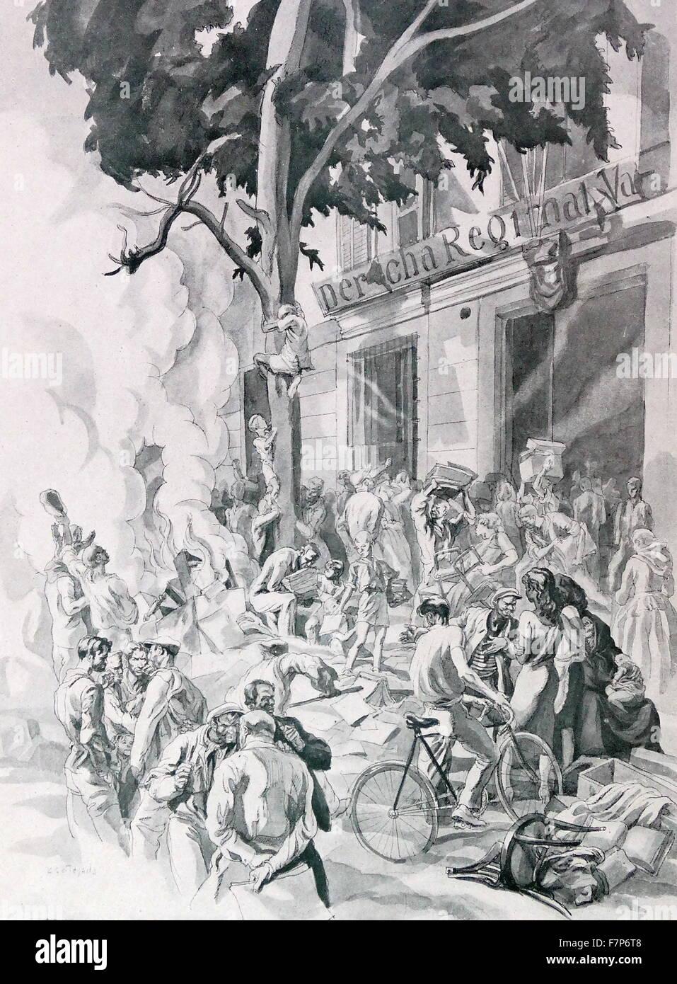 Anti-communist propaganda showing communists looting, during the Spanish Civil War;illustration 1937 - Stock Image