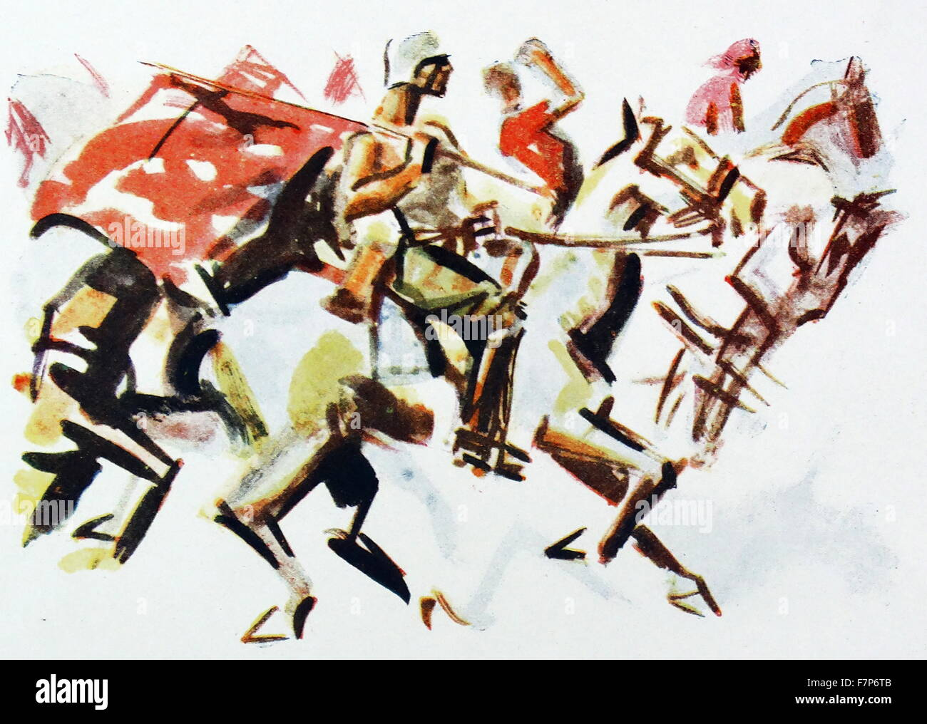 Communist cavalry with flag during the Spanish Civil War;illustration - Stock Image
