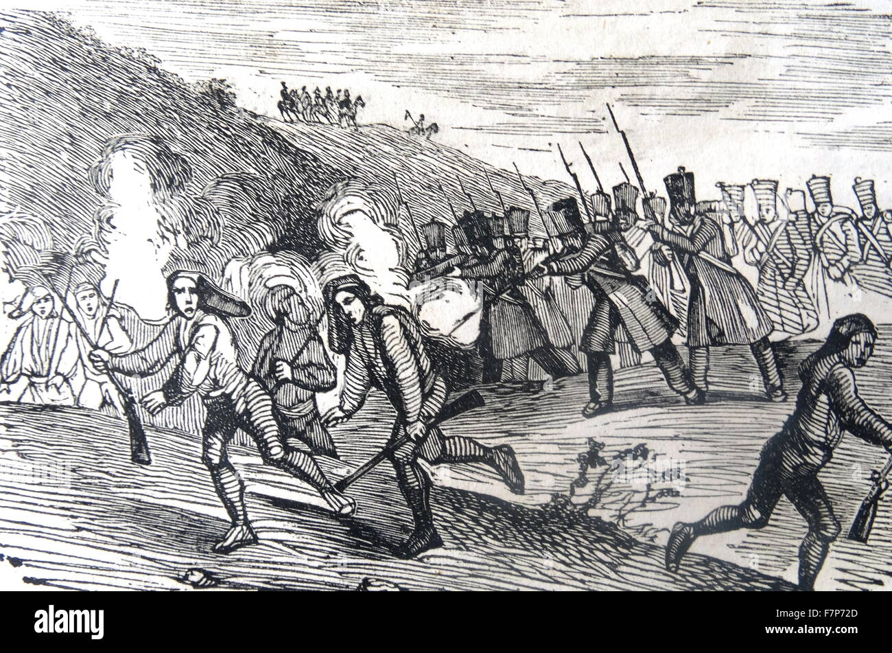 Engraving depicting the defeat of the armies in the Llobregat, Spain. Dated 1808 - Stock Image