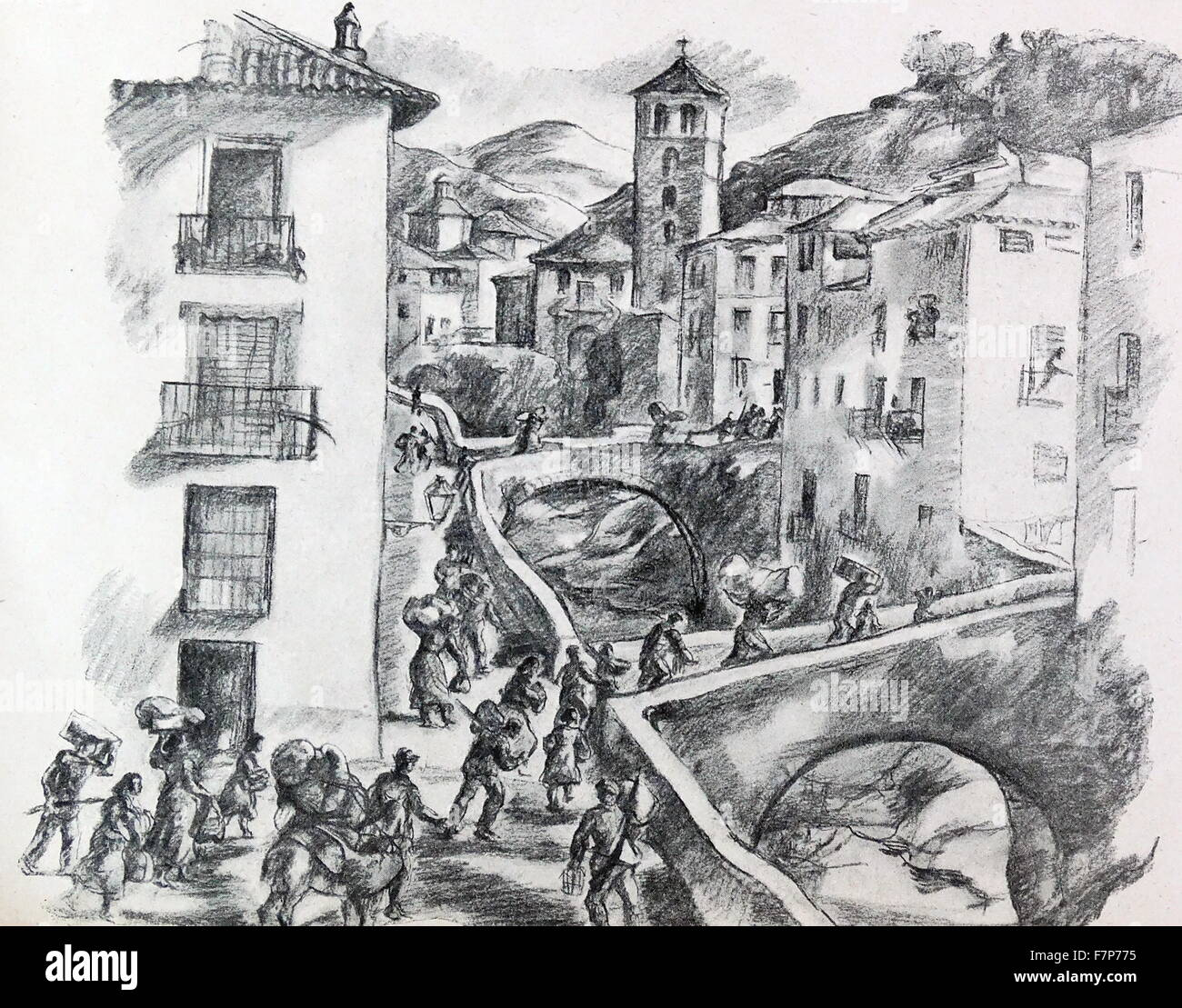 refugees flee from advancing armies during the Spanish Civil War. By Carlos Saenz de Tejada (1897 - 1958 ) Spanish - Stock Image