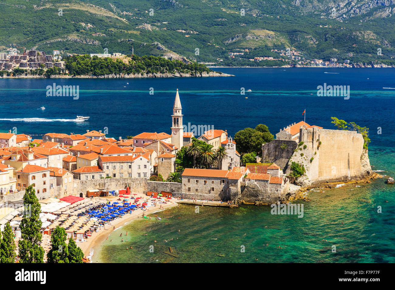 Budva, Montenegro. Panoramic view of the old town. - Stock Image