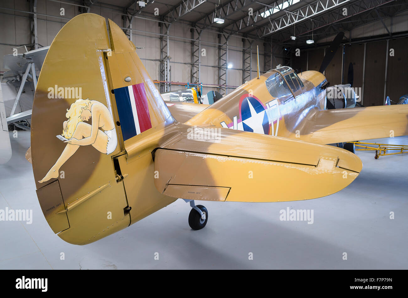 Rear view of a Mustang P51 in a Duxford hangar in UK - Stock Image