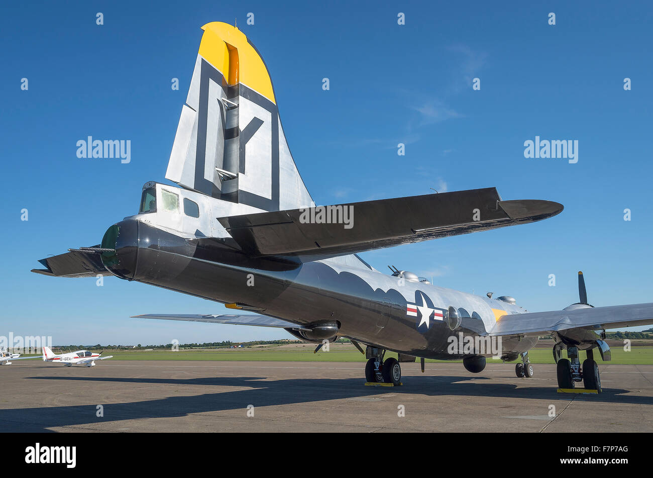 Tail section of an American B29 bomber from WWII at Duxford - Stock Image