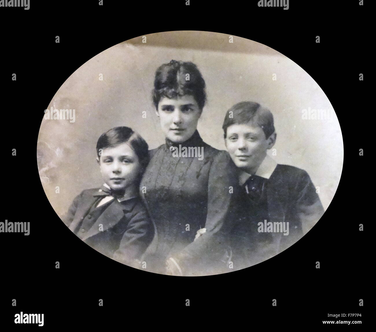 Winston Churchill (right) with his mother and brother in 1916. - Stock Image