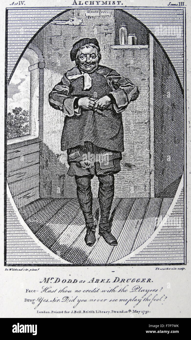 Ben Jonson (1572 - 1637) English dramatist. The Alchemist (1610) Jonson's satire on cupidity. Abel Drugger the - Stock Image